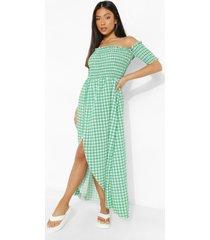 petite geplooide ginghaml maxi wikkel jurk, green