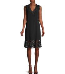 kobi halperin women's donna lace trim sleeveless midi dress - black - size xs