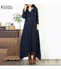zanzea botones de manga larga con cuello en v túnica suelta vestido largo asimétrico largo -azul