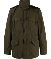 aspesi high collar military jacket - green
