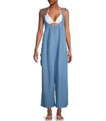tommy hilfiger women's scooped chambray jumpsuit - chambray - size xl