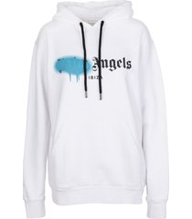 palm angels woman white and blue oversize spray logo ibiza hoodie