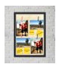 quadro caixa porta foto e recadinho com varal 33x43cm dourado old preto