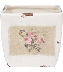 cachepot em cerâmica quadrado provençal 12x12cm branco e bege