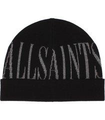 women's allsaints intarsia logo beanie - black
