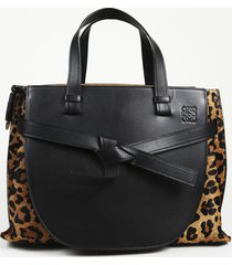 loewe gate animal print satchel bag black/brown/animal print sz: l