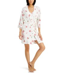inc lace-trim knit wrap robe, created for macy's