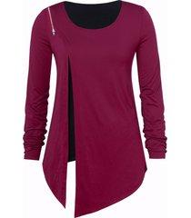 plus size front slit asymmetric t-shirt