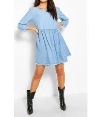 chambray smock dress, light blue