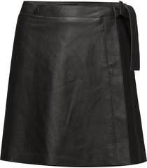 slfmaria wrap leather skirt b kort kjol svart selected femme