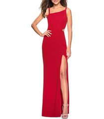 women's la femme high slit strappy back evening gown, size 6 - red