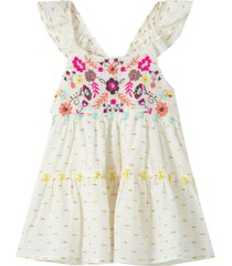 infant girl's peek essentials embroidered tiered dress, size 18-24m - ivory