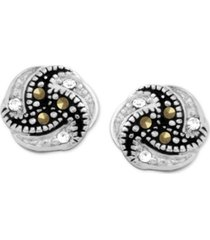 genuine swarovski marcasite knot button earrings in fine silver-plate