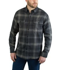wolverine men's escape long sleeve flannel shirt onyx plaid, size xxl