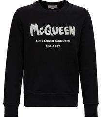alexander mcqueen cotton sweatshirt with logo print