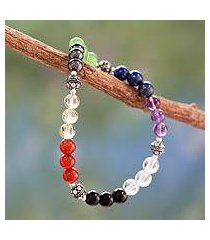 multi-gemstone chakra stretch bracelet, 'colorful mantra' (india)