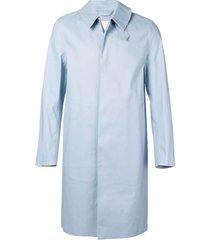 mackintosh bonded cotton three-quarter coat - blue