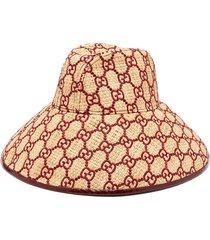 gg-embroidered raffia hat