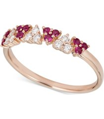 certified ruby (1/2 ct. t.w.) & diamond (1/2 ct. t.w.) ring in 14k rose gold