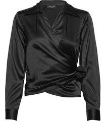 3176 - wrap blouse lange mouwen zwart sand