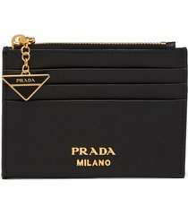 women's prada logo charm saffiano leather card case -