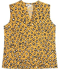 blusa m/s amarilla animal print color amarillo, talla 10