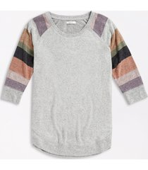 maurices plus size womens gray striped sleeve round hem pullover