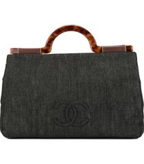 chanel pre-owned cc logo denim tote - black