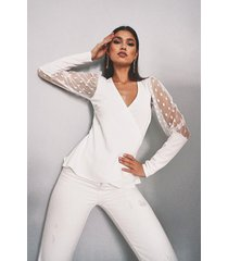 dobby mesh wrap top, ivory