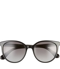 women's kate spade new york melanies 52mm polarized round sunglasses - black silver/ grey