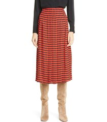 victoria beckham houndstooth pleated skirt, size 6 us in red/black at nordstrom
