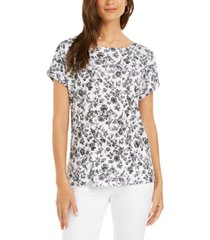 charter club linen floral-print boat-neck top, created for macy's