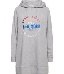 tjw logo hoodie dress kort klänning grå tommy jeans