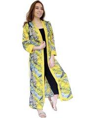 kimono largo amarillo flores colores natalia seguel