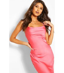 cowl neck maxi slip dress, coral