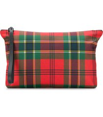 alexander mcqueen plaid canvas pouch - red