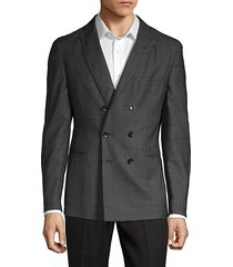 tailored-fit windowpane check wool suit jacket