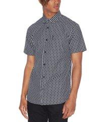 ax armani exchange men's star grid shirt
