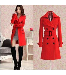 women girl wool blend military trench coat belted double breasted long jacket