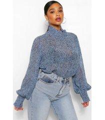 plus blouse met geplooide hals, pastel blue