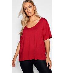 plus super soft oversized basic t-shirt, burgundy