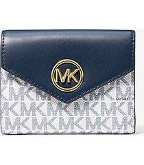 mk portafoglio a tre ante carmen medio in pelle con logo - navy/bianco (blu) - michael kors