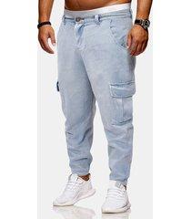 tasche laterali lavate vintage da uomo decorazione harem allentato pantaloni casual jeans