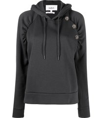 ba & sh bora decorative-button hoodie - grey
