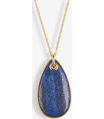 """lucky brand gold-tone lapis & crystal 32"""" adjustable reversible pendant necklace"""