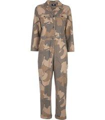 wood wood irene camouflage print boiler suit - brown