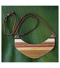 wood pendant necklace, 'striped boomerang' (brazil)