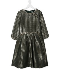 abel & lula teen houndstooth pattern flared dress - green