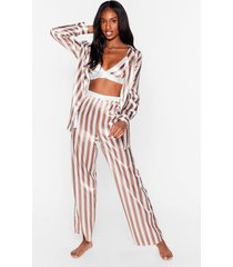 womens stay stripe there 3-pc oversized pajama set - cream