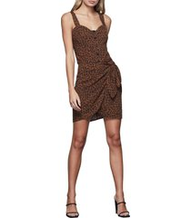 women's good american button front dress, size 4 - brown